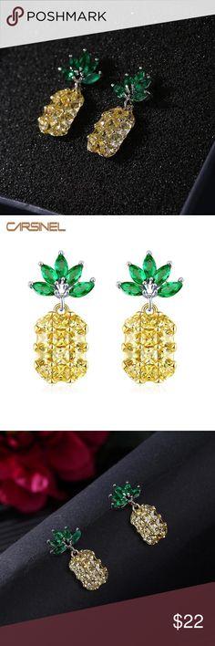 771efdc5c8d26d 🍍🍍Pineapple Earrings Luxury pineapple earrings, gold color AAA colorful  zircon. Jewelry Earrings