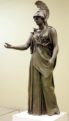 The Piraeus Athena - the year old bronze statue is one of the best preserved Greek statues still extant Ancient Greek Sculpture, Ancient Greek Art, Ancient Greece, Greek Statues, Greek And Roman Mythology, Greek Gods, Roman Sculpture, Sculpture Art, Sculptures