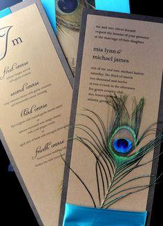 Peacock wedding invitations.
