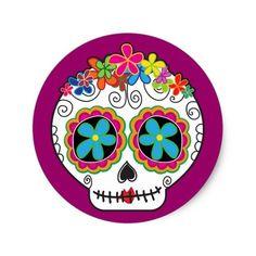 Señorita Calavera Classic Round Sticker - I just love skulls. Painted Pumpkins, Painted Rocks, Imprimibles Harry Potter Gratis, Sugar Skull Art, Sugar Skulls, Sugar Skull Painting, Candy Skulls, Halloween Rocks, Halloween Halloween