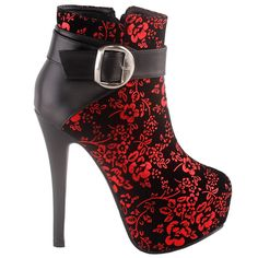 Amazing offer on SHOW STORY Elegant Red Black The Plum Blossom Buckle Platform Stiletto High Heels Ankle Bootie online - Looknewshop Ankle Booties, Bootie Boots, Heeled Boots, Hiking Boots Women, Snow Boots Women, Platform Stilettos, High Heels Stilettos, Gorgeous Heels, Red High Heels