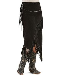 Scully Womens Asymmetrical Fringe Suede Leather Skirt Black Large -- You can get more details by clicking on the image.