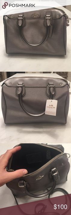 Coach Gray Leather Mini Bennett Satchel Crossbody Brand new with tags!!!! Gray pebble leather Coach mini Bennett satchel Crossbody. Can be used as a small handbag or includes a removable strap to use as a shoulder bag or Crossbody. The beautiful gray color matches any outfit!!! Coach Bags Satchels