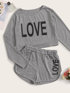 ((AffiliateLink)) Style: Sporty Color: Grey Pattern Type: Letter Neckline: Round Neck Type: Short Sets Sleeve Length: Long Sleeve Composition: Cotton, Polyester Material: Cotton Blends Fabric: Fabric has some stretch Sheer: No Belt: No Lining: No Cute Lazy Outfits, Sporty Outfits, Pretty Outfits, Cool Outfits, Stylish Outfits, Cute Pajama Sets, Cute Pajamas, Pajamas Women, Girls Fashion Clothes