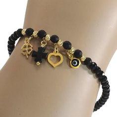 Handmade Bracelets, Earrings Handmade, Handmade Jewelry, Agate Jewelry, Beaded Jewelry, Black Bracelets, Jewelry Bracelets, Jewelry Trends, Jewelry Accessories