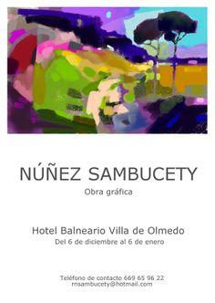 Desde el 6 de diciembre hasta el 6 de enero el autor gráfico Núñez Sambucety exhibirá su obra en el Hotel Balneario Villa de Olmedo.
