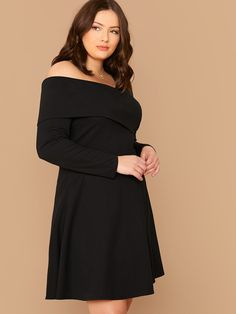 Plus Foldover Asymmetrical Neck Flare Dress Classic Halloween Costumes, Lingerie Sleepwear, Dress P, Types Of Sleeves, Flare Dress, Plus Size Dresses, Fashion News, Plus Size Women, Cold Shoulder Dress