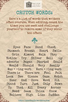 Overused Words in Writing: Cut these from your manuscript! Interesting List- I don't use all of these, but I think we all have those words we overuse. Book Writing Tips, Editing Writing, Writing Words, Fiction Writing, Writing Process, Writing Quotes, Writing Resources, Writing Help, Writing Skills