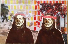 WILLIE AS SUMMER & FALL -- 16.5 x 24in -- Mixed Media on Board -- CONTACT: annegenung@gmail.com