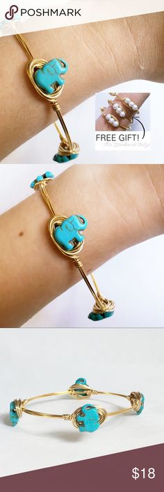 FREE GIFTTurquoise Elephant Bangle Handmade with turquoise elephant stones and gold colored wire. Tarnish resistant. Diameter is 2.75 inches across. Includes (1) free white glass pearl bangle as a gift with purchase. (Photo above shows (3) pearl bangles being worn together. Limit (1) free pearl bangle per customer.) Sydney Elle Jewelry Bracelets