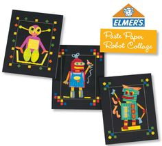 """Paste Paper Robot Collage"" art lesson plan by Elmers for grades In this lesson, students invent a robot that is helpful for a task in their own life. To illustrate the idea, students create a final collage with beautifully textured paste papers. Paper Robot, Elementary Art Lesson Plans, Auction Ideas, Kindergarten Art, Lessons For Kids, Classroom Themes, Art School, Collage Art, Art For Kids"