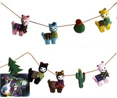 Llama Garland, Ethnic Garland, Felt alpaca Bunting, Nursery Garland, Felt cactus, hut, Tribal Birthday Decoration, Anniversary Gift  Decorate your babies room for his/her Birthday with color! I handmade every piece hanging on a thread of orange wool. They all are stuffed with hypoallergenic