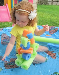 Pool Noodle Floating Sculpturefun idea, maybe even in the water table!