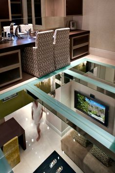 glass floor looking into the playroom from office? Luxury Interior Design, Modern Interior, Interior Architecture, Amazing Architecture, Custom Glass Table Tops, Glass Floor, Cottage Kitchens, Barbie Dream House, House On A Hill