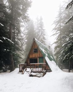 """""""A foggy morning in the woods! A Frame Cabin, A Frame House, Tiny House Cabin, Cabin Homes, Cabin In The Woods, Little Cabin, Cabins And Cottages, Cozy Cabin, Facade"""