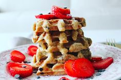 Delicious oat waffles with chocolate!