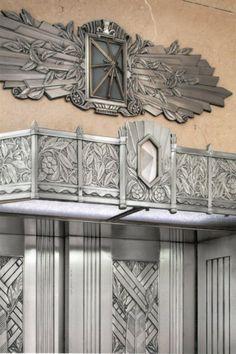 Art Deco Union Station Chicago - detail van de liftdeuren / Union Station elevator detail (Chicago Pin of the Day, Art Deco Decor, Art Deco Stil, Art Deco Era, Art Deco Design, Art Nouveau, Art Et Architecture, Design Industrial, Streamline Moderne, Examples Of Art