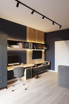 Bedroom Setup, Bedroom Bed Design, Home Decor Bedroom, Study Room Design, Home Room Design, House Design, Modern Home Offices, Small Home Offices, Home Office Layouts