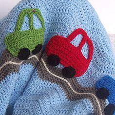 Crochet Baby Blanket - Car Crochet Ripple Afghan - Blue / Gray Ripple Blanket with Green, Blue, Red Car Appliques - Chevron Blanket. $60.00, via Etsy.