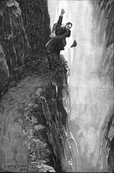 """Ilustration by Sidney Paget to the Sherlock Holmes story """"The Final Problem"""". Sherlock Holmes and Professor Moriarty at the Reichenbach Falls. This appeared in The Strand Magazine in December, Original caption was THE DEATH OF SHERLOCK HOLMES. New Sherlock Holmes, Sherlock Holmes Stories, Sherlock Bbc, Jeremy Brett, John Watson, The Reichenbach Fall, The Final Problem, Arthur Conan Doyle, Sir Arthur"""