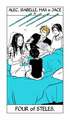 From Cassandra Jean ...  alexander 'alec' lightwood, isabelle lightwood, jace herondale, max lightwood, tarot card, the mortal instruments
