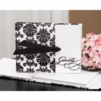 """Black and White Wedding Ideas - White, gatefold guest book with black damask design and black grosgrain ribbon closure can record up to 800 signatures and measures 7 1/2"""" x 5 3/4"""". (Book Link - http://occasionsinprint.carlsoncraft.com/Celebration-Supplies/Guest-Books-and-Pens/ZB-ZBK64133-Damask-Gatefold-Guest-Book.pro)"""