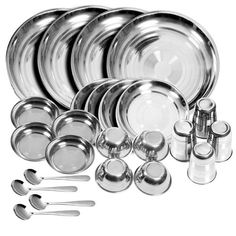 King International Stainless steel dinner set of 24 pcs with Branded Box Packing (Glass, Curry Bowl, Desert bowl, Spoon, Quater Plate and Full Plate). For product info go to:  https://all4hiking.com/products/king-international-stainless-steel-dinner-set-of-24-pcs-with-branded-box-packing-glass-curry-bowl-desert-bowl-spoon-quater-plate-and-full-plate/