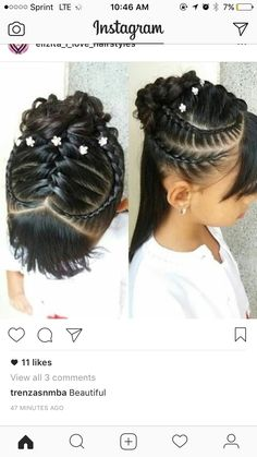 Plaits Hairstyles, Baddie Hairstyles, Cute Hairstyles, Girl Hair Dos, Baby Girl Hair, Hair Doo, Heart Hair, Natural Hair Styles, Long Hair Styles