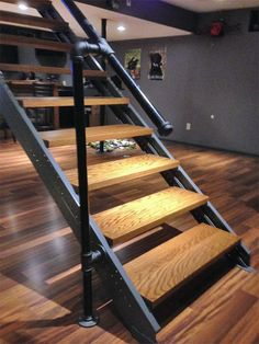 Basement stairs easily made with prefabricated rust proof steel stair stringers. Description from fast-stairs.com. I searched for this on bing.com/images