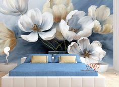 Large flower Wall Murals, Wallpaper, White flower on Blue Wall, Oil painting effect wall, Modern Hom Tree House Wallpaper, Flower Wallpaper, Wall Wallpaper, Bedroom Wallpaper, Painting Wallpaper, Navy Blue Wall Art, Blue Walls, Blue Art, Tree Wall Murals