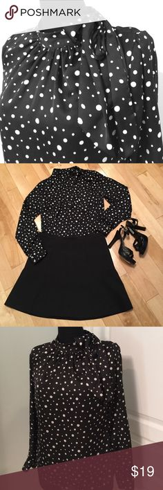 LIKE NEW🎀 Polka Dot Retro Style Blouse Tie at neck. Gently worn but in perfect shape. Skirt and shoes not for sale. This is a re-posh. It's listed as a M, but fits tight. Probably closer to a 6-8. The shirt is very pretty and feminine, but has no stretch. Merona Tops Blouses
