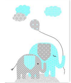 Elephant Nursery Art Gray and Aqua Girl's by SweetPeaNurseryArt