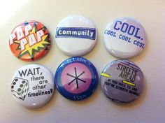 Community tv show Inspired Pins Set of 6  great for