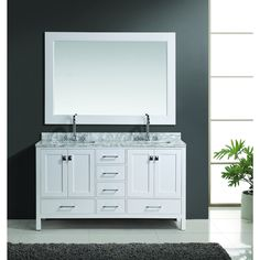 Photo Gallery For Website Design Element London Double Sink Vanity Set in White Finish by Design Element