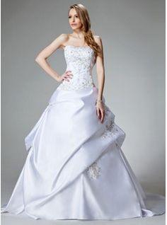Ball-Gown Sweetheart Chapel Train Satin Wedding Dresses With Embroidery  Beadwork | Wedding Dresses | Faseeon.com
