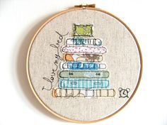 Embroidery Hoop Art  'I love my bed' Textile by ThreeRedApples