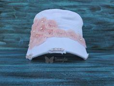 Pink Rose Hat, White Cadet Hat, Bling Hat, Shabby Chic Hat, Rhinestone Hat, Pink Bling Hat, Girl Hat, Rosette Hat, tammydee