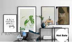 We are family Quote Monstera Plant Leaves Canvas Prints Wall Decals Art Decor IDCCV-BO-000057