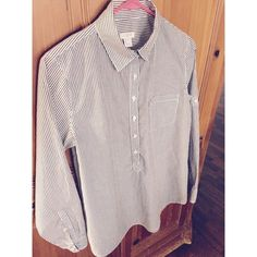 J Crew Button-up This grey and white pinstripe button-up is a great piece to dress up or down.  It has only been worn about 3 times. J. Crew Tops Button Down Shirts