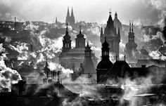 Prague at dawn More Pictures, Best Funny Pictures, Prague Czech, Old Paintings, Czech Republic, Old Town, Daydream, Dawn, Black And White