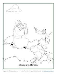 elijah prayed for rain coloring page - Elijah Coloring Pages