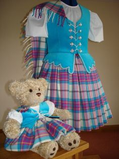 Dress dummy & teddy bear in matching aboynes with blue vests. Scottish Highland Dance, Stewart Tartan, Country Dance, Blue Vests, Raggedy Ann And Andy, Dance Outfits, Highlands, Dance Costumes, Teddy Bears