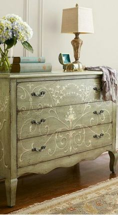 Gorgeous antique dresser with scrolly design
