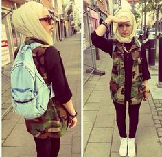 Camouflage with denim and a light cream beige hijab.casual everyday look.