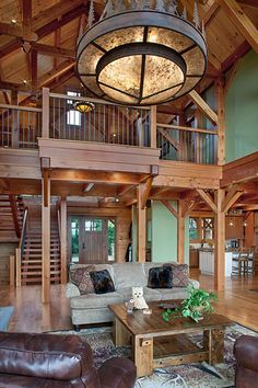 Great Camp Douglas Fir Timber Frame Home – Lawrenceville, PA - Woodhouse The Timber Frame Company Timber Beams, Exposed Beams, Mountain House Plans, Mountain Homes, Log Home Designs, Medieval Houses, Colorado Homes, Timber Frame Homes, Log Cabin Homes