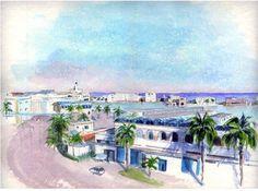 Alger - L'Amirauté et le Grand Bassin - Peinture ©2008 par Catherine Rossi -