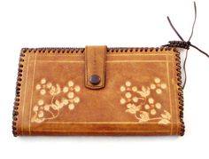 Vintage Tan Brown, Tooled Leather Bohemian Purse & Wallet for $45.00 at etsy.com