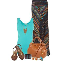 A fashion look from May 2013 featuring sleeveless tops, multi colored maxi skirt and ankle strap shoes. Browse and shop related looks.