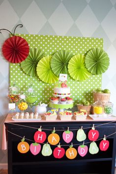 The Very Hungry Caterpillar Birthday Party or Baby Shower Birthday Fun, First Birthday Parties, Birthday Party Themes, First Birthdays, Birthday Ideas, Hungry Caterpillar Party, Dora, Fruit Party, Deco Table