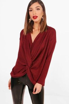 boohoo Nicola Knot Front Drape Knitted Top